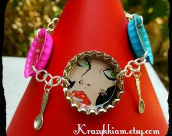 Pop art bracelet, bottle cap bracelet, comic book bracelet, charm bracelet, retro bracelet
