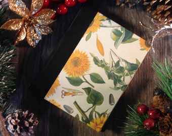 Blank notebook / journal (small), sunflowers, 128 pages, cotton sheets, fabric hard spine, for sketching, drawing or writing