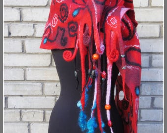 "SALE ""The fortuneteller"", red wet felted shawl with beads and wool locks, one-of-a-kind unique woolen garment"