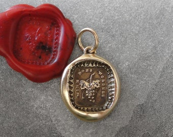Wine Does Wonders Wax Seal Charm - antique wax seal jewelry pendant with bunch of grapes and motto by RQP Studio