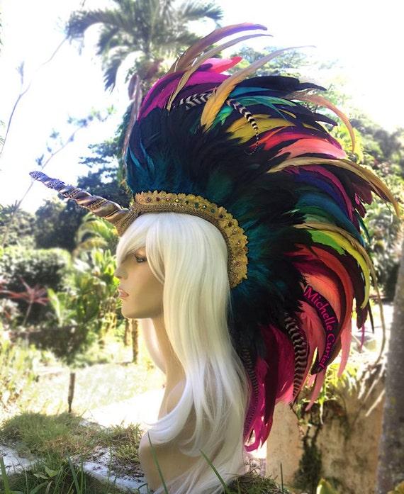Lada - Customizable Unicorn Feather Mohawk / Headdress for Festivals, Masquerade, Cosplay, Mad Max