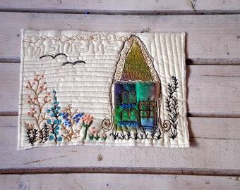 Elf house childrens room decor small quilt, natone fiber art earth ton home decor
