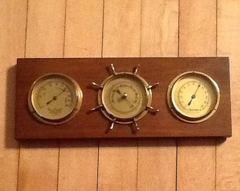 Vintage Barometer Thermometer Hygrometer Weather Station Tradition Wood & Brass forecaster Barometer Made in West Germany 14 inch