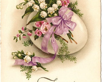 Antique French Easter Postcard with Lily of the Valley & Pink Flowers, Lavender Ribbon Bow Chromo Post Card from Vintage Paper Attic