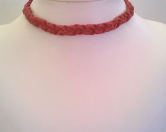 Handcrafted Braided Red Leather Choker -  Cowgirl Chic - Western Southwestern Style Choker Necklace