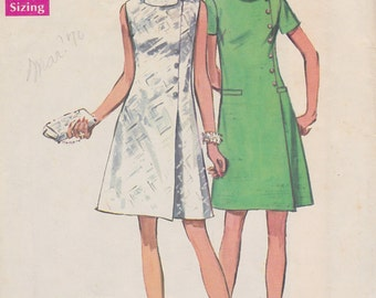1969 Sleek Mod Mini A Line Dress Vintage Pattern Simplicity 8541 Notched Bias Collar Asymmetrical Buttons Side Pleat Jiffy Simple to Sew