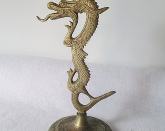 Dragon Candlestick, Brass Vintage Candle Holder Fire Breathing Hobbit Lord of the Rings Decor