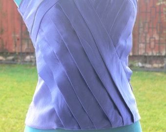 blue bebe boned strapless top size  36 bust with zipper design