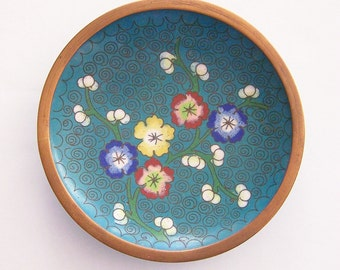 Vintage Floral Cloisonné Pin Dish - Circa 1940's - Made in China