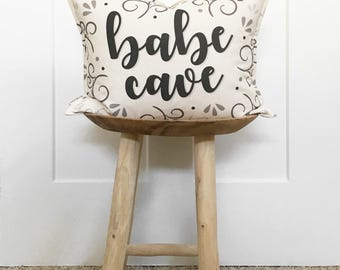 """15x19"""" Babe Cave Pillow Cover - Girl Boss Office Decor - Girl's Playroom - Decor for Her - Cotton Duck Canvas - Button Back Closure"""