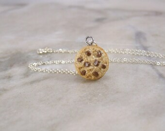 Miniature Chocolate Chip Cookie Polymer Clay Necklace