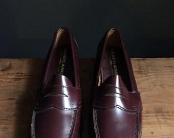 Oxblood Penny Loafers Women's Sz. 9 W 9W by Eastland Deadstock NWOT Vintage Red Brown Leather