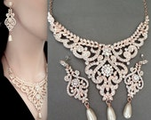 Rose gold pearl set, Brides jewelry set, Rose gold jewelry set,Rose gold statement jewelry set,Rose gold wedding jewelry set,Swarovski,MIA