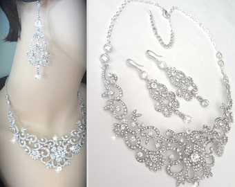 Brides jewelry set ~ Crystal rhinestones necklace and earrings set  ~ Statement jewelry ~ Bib necklace ~ Pageant ~ Wedding Jewelry ~ ALEXIS