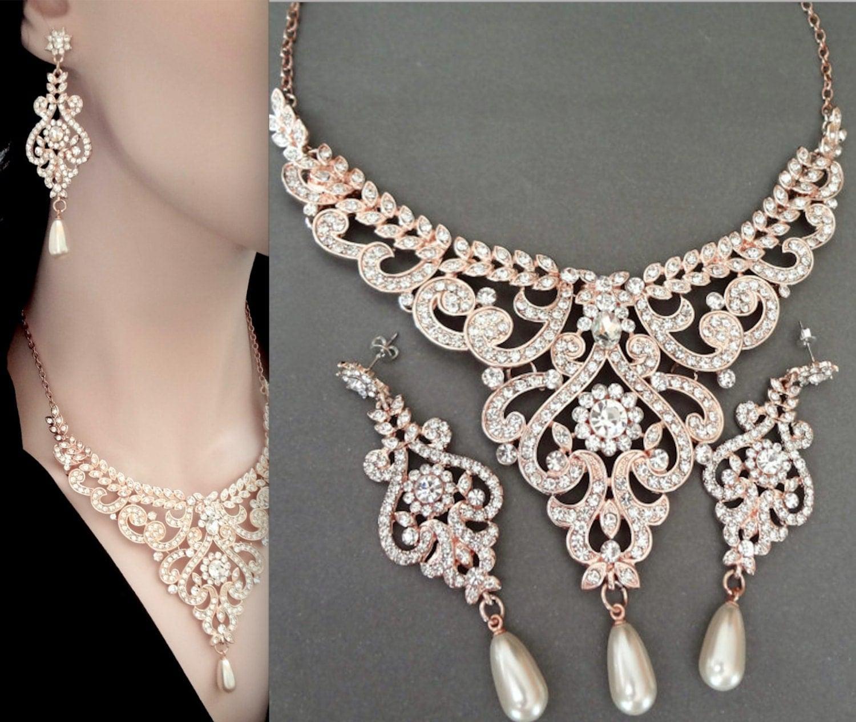 rose gold pearl set brides jewelry set rose gold jewelry. Black Bedroom Furniture Sets. Home Design Ideas