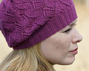 Hand knitted spring beret - chunky fuchsia hat neon colorful magentaREADY TO SHIP