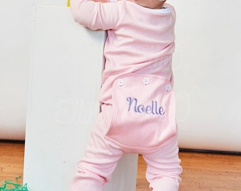 Monogrammed Pink Soft & Sweet One Piece Pajamas / Personalized One Piece Spring Pajamas / Easter Infant and Toddler Pajamas / Holiday Pjs