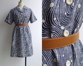 "20% Code ""JINGLE20"" - Vintage 70's 'Japanese Waves' Swirl & Polka Dot Navy Op Art Print Dress M L Xl"