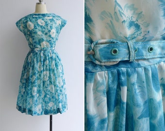 20% OFF (Code In Shop) - Vintage 50's Watercolor Florals Teal Blue Boat Neck Dress with Belt XS or S