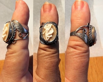 1 Sterling Dancing Cameo Ring with Ornate Scrolls & Leaf Silver Ring, Vintage Full Profile Hand Carved Signed Cameo Size 6.5   Only 199.90