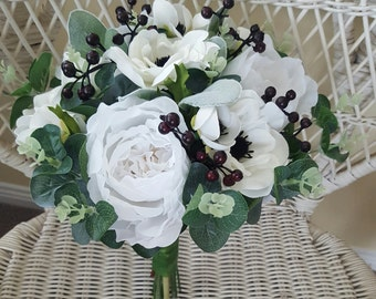 Boho wedding bouquet, bride, bridesmaid bouquet.  White and off white bouquet.  Roses, peonies, anemones, gum foliage, berries