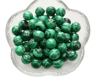 2 MALACHITE Beads 10mm Round Drilled Natural Loose Beads Healing Crystal and Stone Gemstone for Jewelry Crafts #MB02