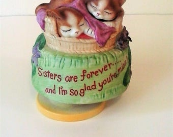 Sisters Are Forever Rotating Music Box - Cats In A Basket Porcelain Music Box - Feelings Music Box