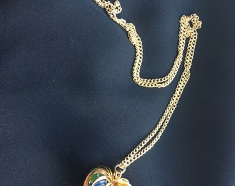 Vintage Caged Heart Necklace with Beads, Heart Pendant, Beaded Heart Necklace