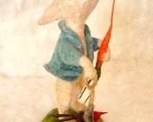 RESERVE for Debbie Spun cotton bunny rabbit springtime Easter vignette a OOAK vintage craft by jejeMae