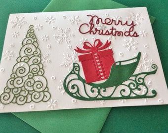 "Christmas Card, 5"" x 7"", White Embossed snowflakes, Christmas Tree, Sleigh, Present, Merry Christmas, Silver Star, Saying Inside, Handmade"