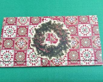Christmas Money/Gift/Check Card Holder, Burgundy, Green, Beige, Wreath, Sticker, Saying Inside, Handmade, Bow, Ferns, Matching Band