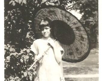 "Vintage Snapshot ""Chinese Parasol"" Pretty Little Girl Flapper Dress 1920's Found Photo"