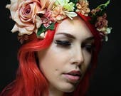 Pretty Bohemian Floral Headband in Peach and Pink