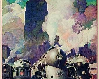 Vintage New York Central Railroad J-3a Hudson 1937. Instant Download - Printable Poster