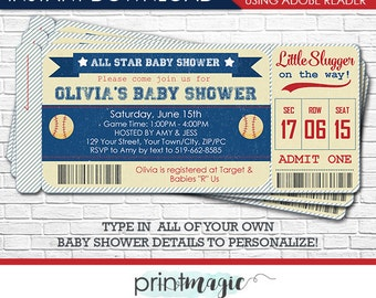 Vintage Baseball Baby Shower Invitation - Baseball Ticket Invitation - Baseball Invitation - Download & Personalize in Adobe Reader at home