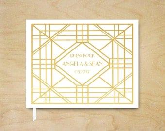 Real Foil Wedding Guest Book, Art Deco Gold Foil Guest Book, Silver or Gold Foil Guestbook, Custom Gatsby Guest Book, Landscape Guest Book
