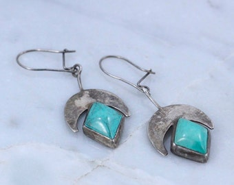 Vintage Sterling Silver Tribal CRESCENT MOON & TURQUOISE diamonds Earrings ~ Goddess / Sacred Feminine / witchy / festival