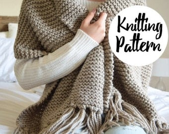 Knitting Pattern / Chunky Blanket Scarf Shawl With Tassels, Cozy Winter Accessory / THE BLANKET SCARF