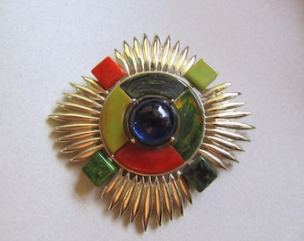 RARE Bakelite Multi Color Brooch Pin Pendant Combo Blue Moon Creamed Spinach Paprika Pea Soup Vintage Costume Jewelry