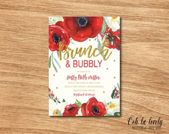 Christmas Brunch and Bubbly Invitation, Bubbly and Brunch Invitation,  Floral Bridal Shower Invitation, Printable Bridesmaids Luncheon