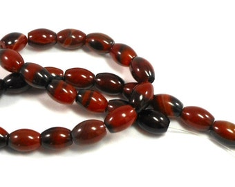 Red Agate Stone Barrel Beads, Red Black Agate Gemstone, Full Strand, 14mm Oval Tube Beads, Craft Beading, Jewelry Making, Supply Beads