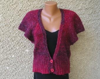 Vintage MOHAIR knit cardigan vest, size S-M