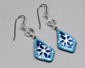 Snowflake Jewelry, Holiday Jewelry, Winter Jewelry - Porcelain Snowflake and Crystal Earrings