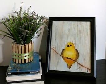 "Yellow Bird Art Print - Happy Bird - Bird In Rain - 8""x10"" Art Print - Babys Room - Yellow Nursery - Kids Room - Children Decor - Rainy Day"