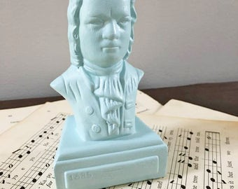 Piano Bust / Composer Bach Bust in Blue / Small Music Composer Bust