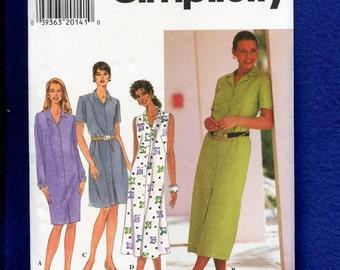 Simplicity 7591 Easy Breezy Shirt Dresses Size 8..10..12 UNCUT
