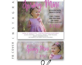 Spring Mini Session Template, Easter Mini Sessions, Marketing Board, Photoshop Template, Facebook Cover, Photography Marketing Set, Pink