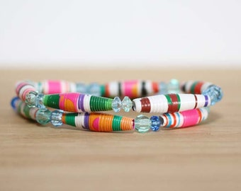 Chica Chica Boom Boom, Recycled Book Paper Bead Bracelet Set, Made From Damaged Book, Teacher Gift, Mother Gift, Librarian Gift