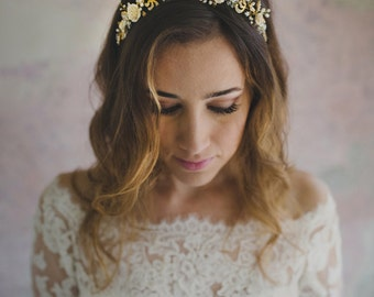 Wedding rose flower headband, bridal floral halo in gold, bride hair accessory - style 347