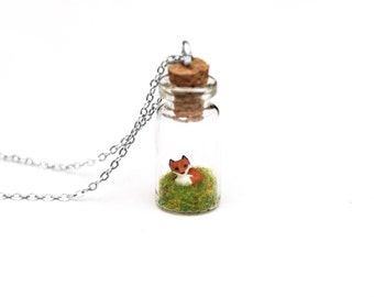 Fox Necklace, Spring Terrarium, Woodland Wildlife Bottle Necklace, Fairy Garden Necklace, Gift For Her, tiny glass bottle